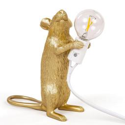 Seletti Mouse Standing tafellamp USB goud
