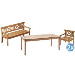 Skagerak Drachmann tuinset 190x86 tafel + 2 stoelen + tuinbank