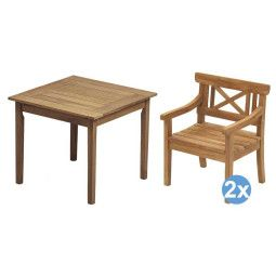 Skagerak Drachmann tuinset 86x86 tafel + 2 stoelen