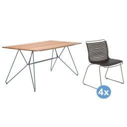 Houe Sketch Bamboo tuinset 160x88 tafel + 4 stoelen