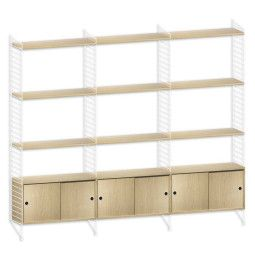 String Furniture Hoge kast large, wit/eiken