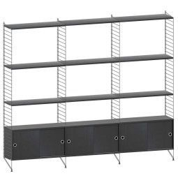 String Furniture Hoge kast large, zwart