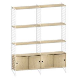 String Furniture Hoge kast medium, wit/eiken
