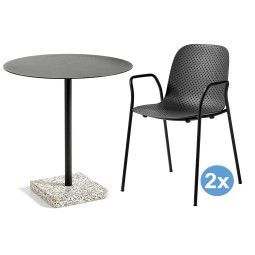 Hay Terrazzo Round tuinset 70 tafel + 2 stoelen (armchair)