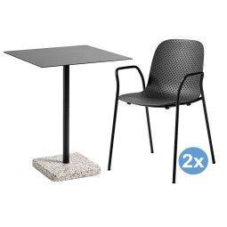 Hay Terrazzo Square tuinset 60x60 tafel + 2 stoelen (armchair)