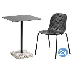 Hay Terrazzo Square tuinset 60x60 tafel + 2 stoelen