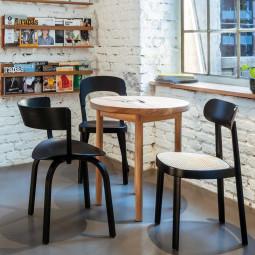 Thonet Tweedekansje - 118 stoel met zitting van gevlochten riet, zwart beuken TP29