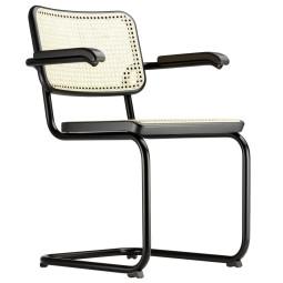 Thonet S64 stoel met armleuningen, zwart onderstel