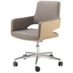 Thonet s845 bureaustoel Linea Leder 660 Asfalto, beuken