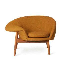 Warm Nordic Tweedekansje - Fried Egg fauteuil onderstel teak, Canvas 424
